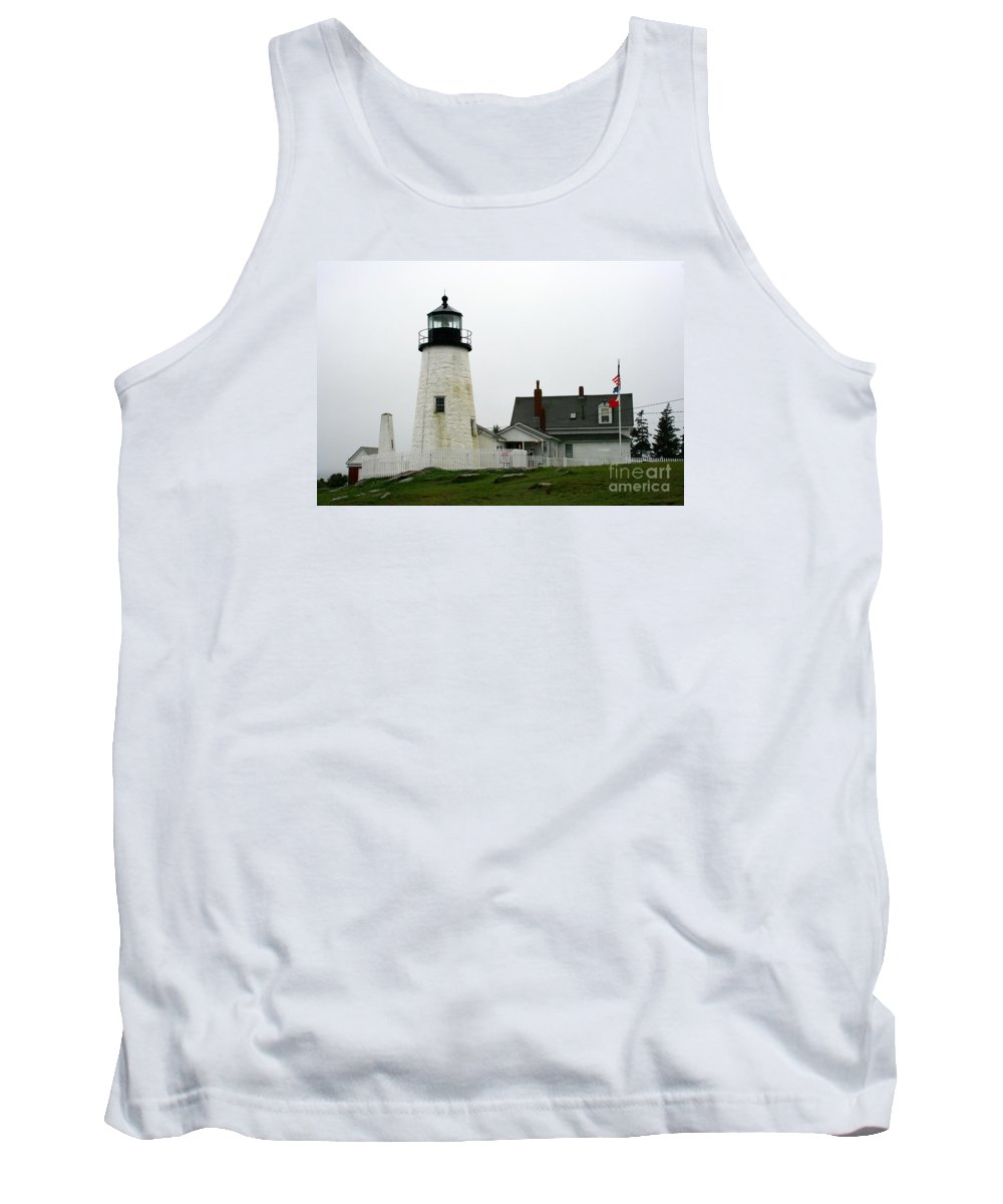 Lighthouse Tank Top featuring the photograph Pemaquid Point Light In The Rain - Maine by Christiane Schulze Art And Photography