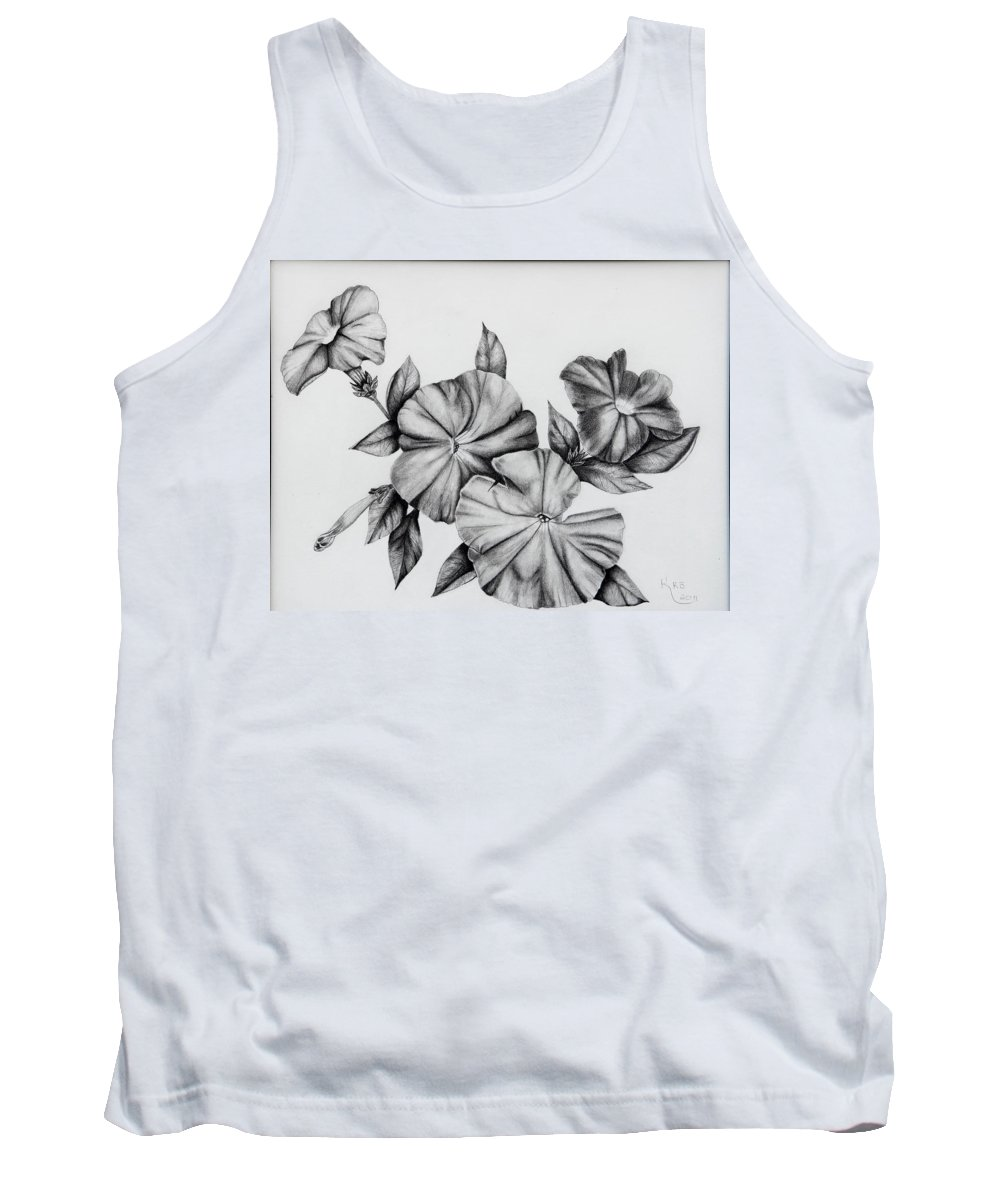 Petunias Tank Top featuring the drawing Petunias by Karen Beasley