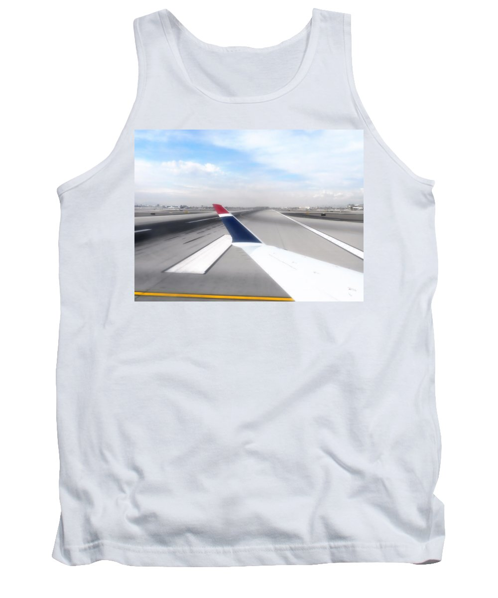 Phoenix Tank Top featuring the photograph Phoenix Az Airport Wing Tip View by Thomas Woolworth