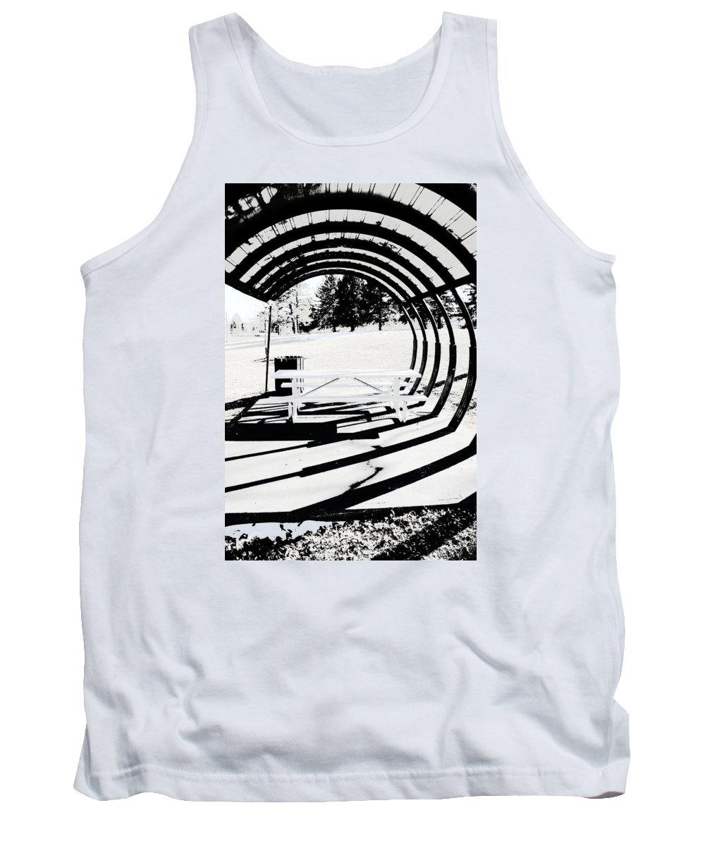 Park Bench Tank Top featuring the photograph Picnic Table And Gazebo by Ric Bascobert