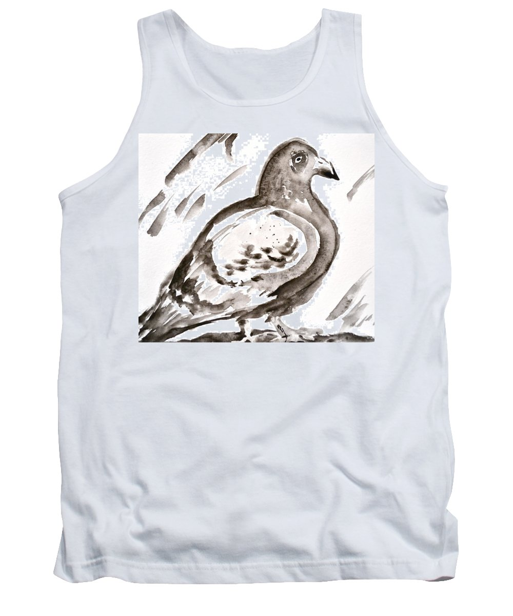Pigeon I Sumi-e Style Tank Top featuring the painting Pigeon I Sumi-e Style by Beverley Harper Tinsley