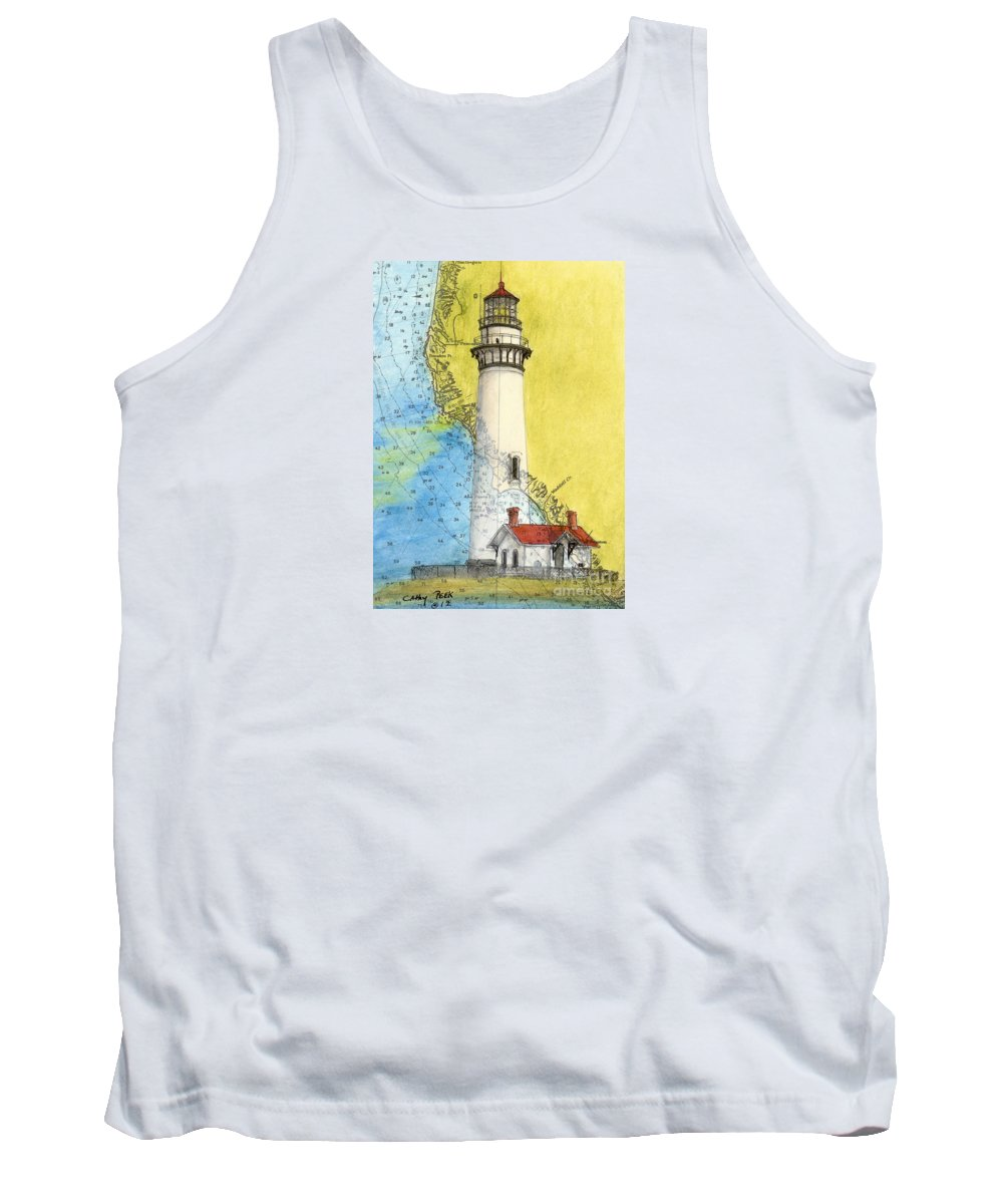 Pigeon Tank Top featuring the painting Pigeon Pt Lighthouse Ca Nautical Chart Map Art by Cathy Peek