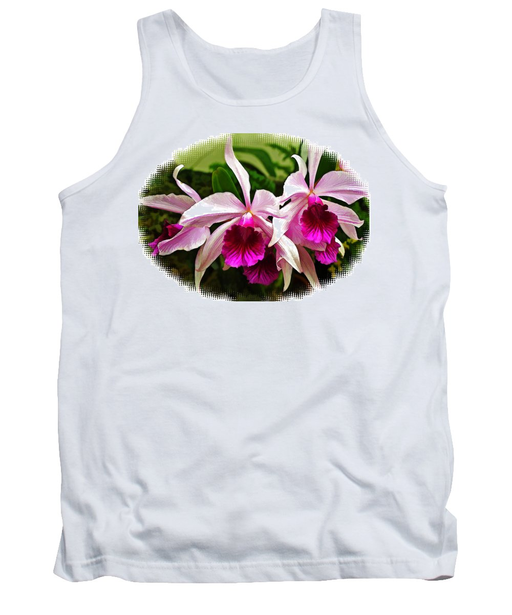 Orchid Tank Top featuring the painting Pink Cattleya Cluster by Elaine Plesser