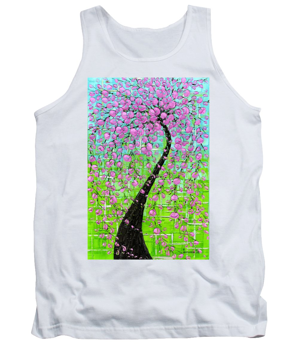 Tank Top featuring the painting Pink Cherry Blossom by Susanna Shaposhnikova