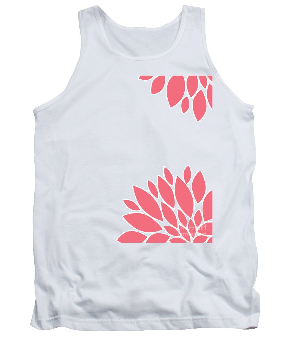 Pink Tank Top featuring the digital art Pink Peony Flowers by Voros Edit