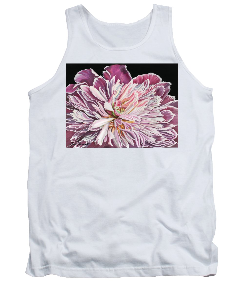 Flower Tank Top featuring the painting Pink Peony by Jane Girardot