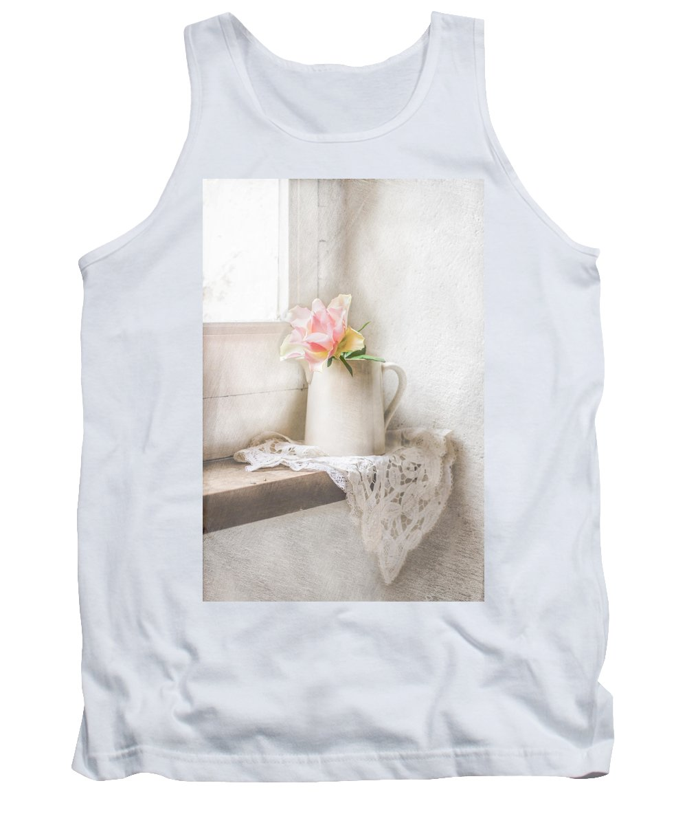 Rose Tank Top featuring the photograph Pink Rose by Elisabeth De vries