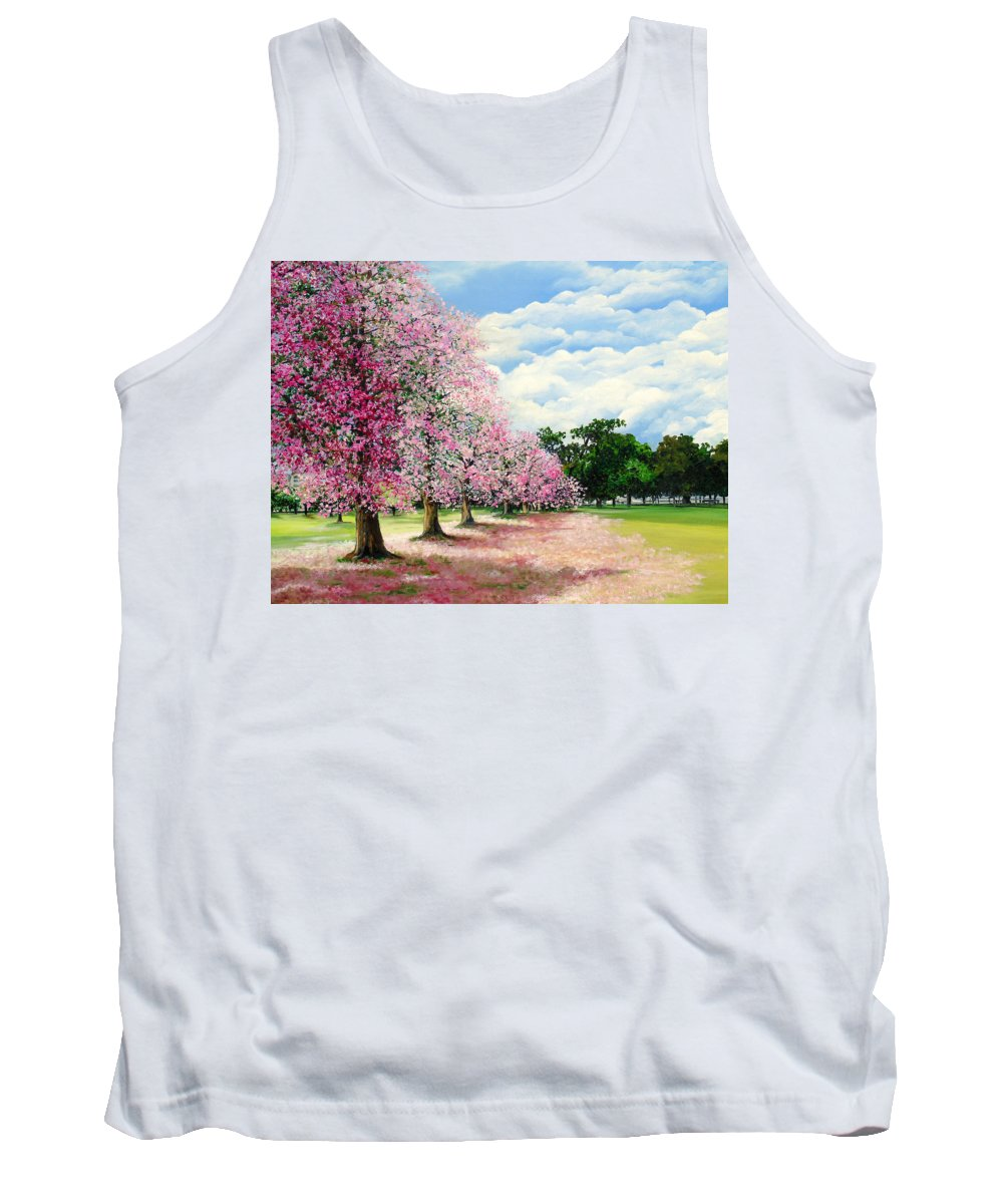 Pink Poui Trees Tank Top featuring the painting Pink Savannah Poui by Karin Dawn Kelshall- Best