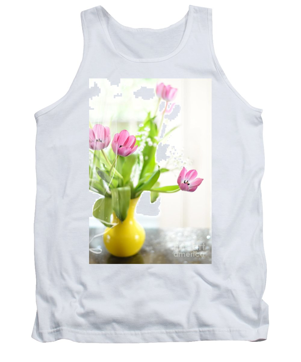 Tulip Tank Top featuring the photograph Pink Tulips In Yellow Vase by Lois Bryan