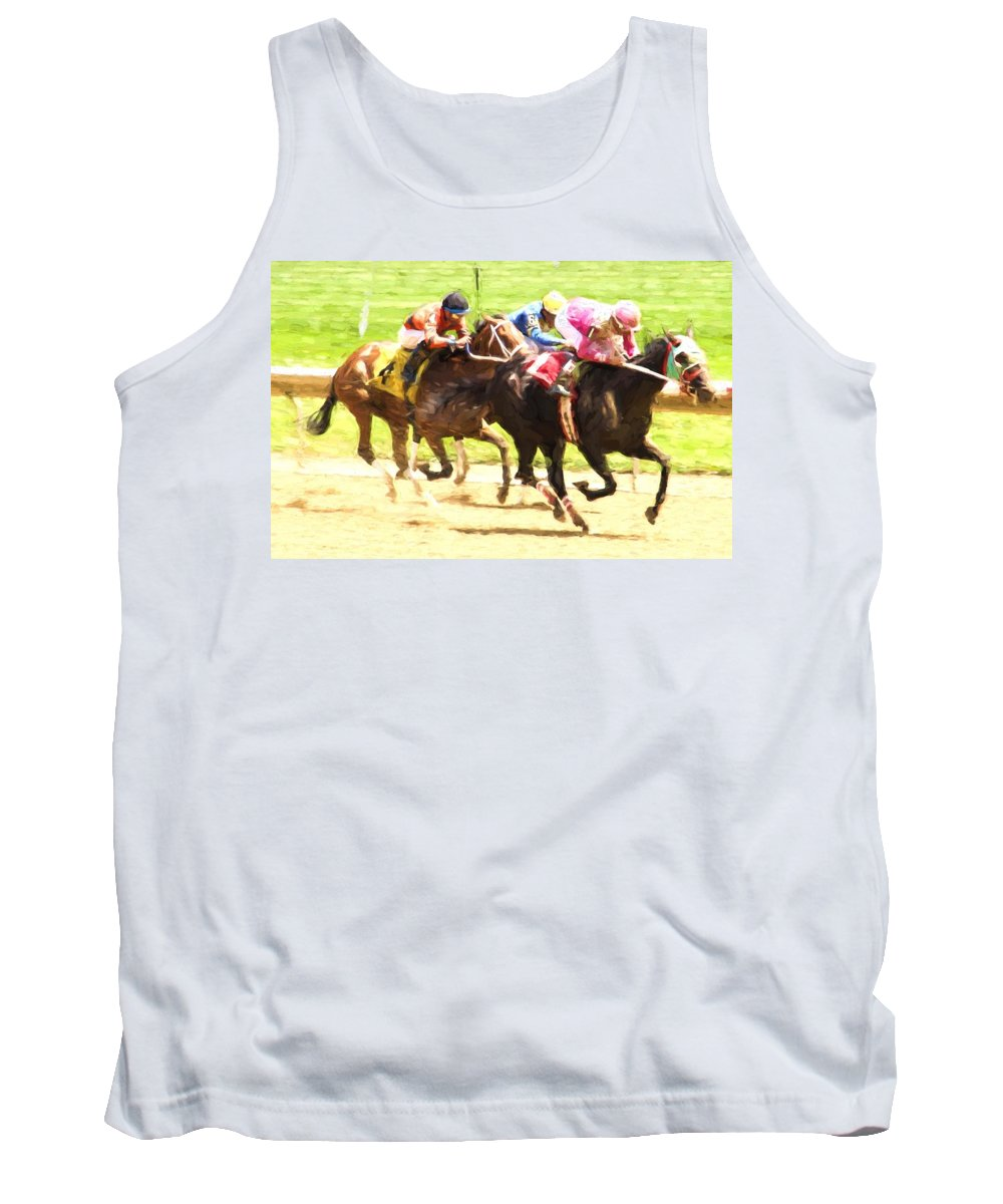 Horse Race Tank Top featuring the photograph Pink Up Front by Alice Gipson