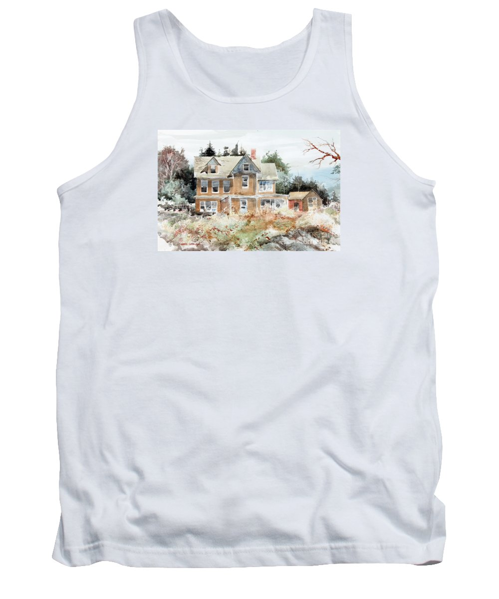 A Beautiful Old House Overlooks The Waters At Southport Tank Top featuring the painting Plein Air At Southport by Monte Toon