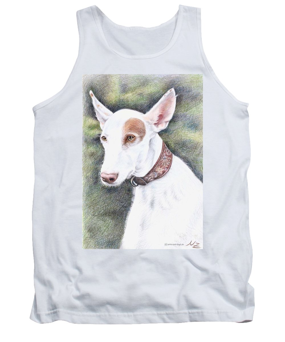 Dog Tank Top featuring the drawing Podenco Ibicenco by Nicole Zeug