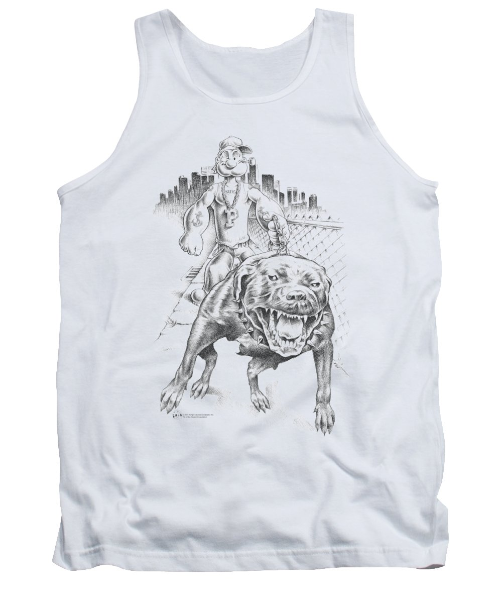 Popeye Tank Top featuring the digital art Popeye - Walking The Dog by Brand A