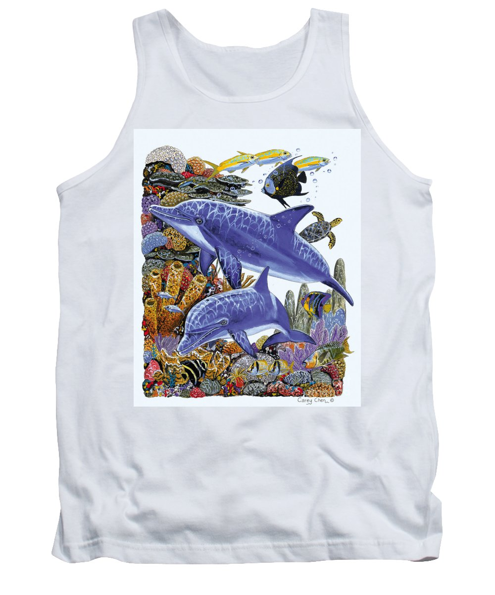 Porpoise Tank Top featuring the painting Porpoise Reef by Carey Chen