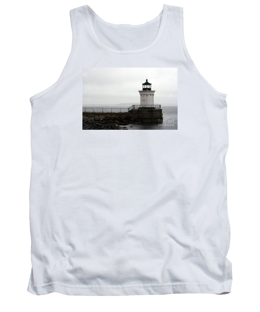 Lighthouse Tank Top featuring the photograph Portland Breakwater Light On A Hazy Day - Maine by Christiane Schulze Art And Photography
