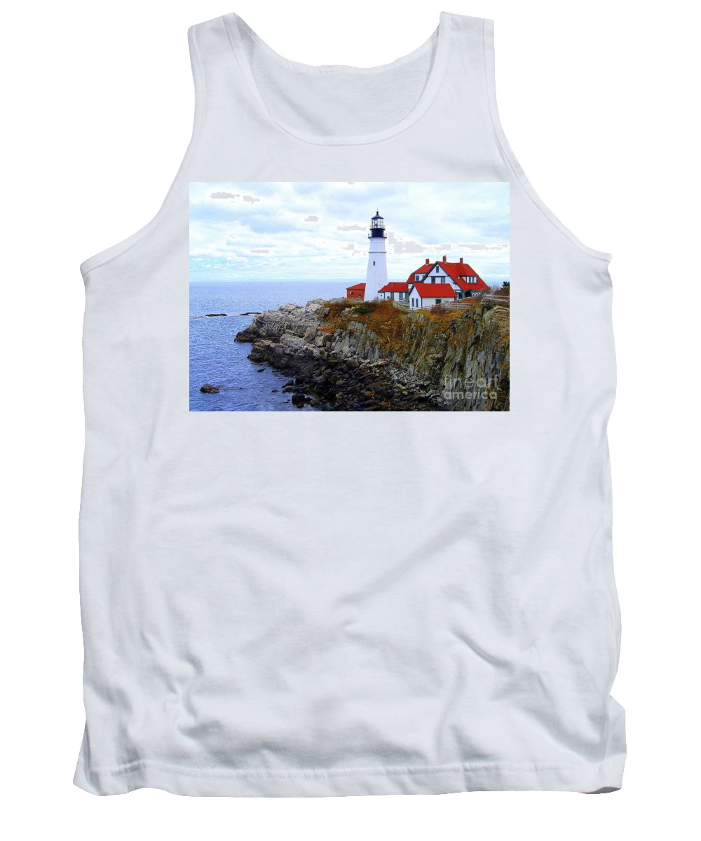 Portland Head Light Tank Top featuring the photograph Portland Head Light House In Maine by Catherine Sherman