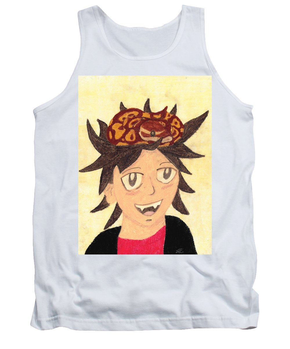 Boy Tank Top featuring the pastel Portrait Of A Boy With A Ball Python On His Head by Jessica Foster