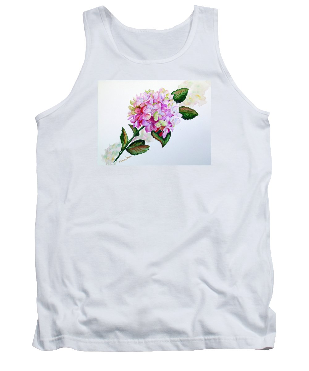 Hydrangea Painting Floral Painting Flower Pink Hydrangea Painting Botanical Painting Flower Painting Botanical Painting Greeting Card Painting Painting Tank Top featuring the painting Pretty In Pink by Karin Dawn Kelshall- Best