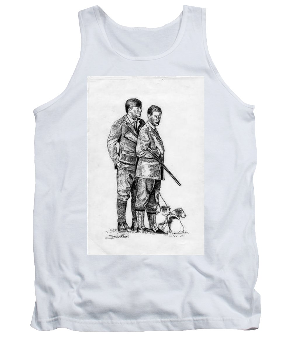 Tank Top featuring the drawing Prince Charles Hunting by Jude Darrien