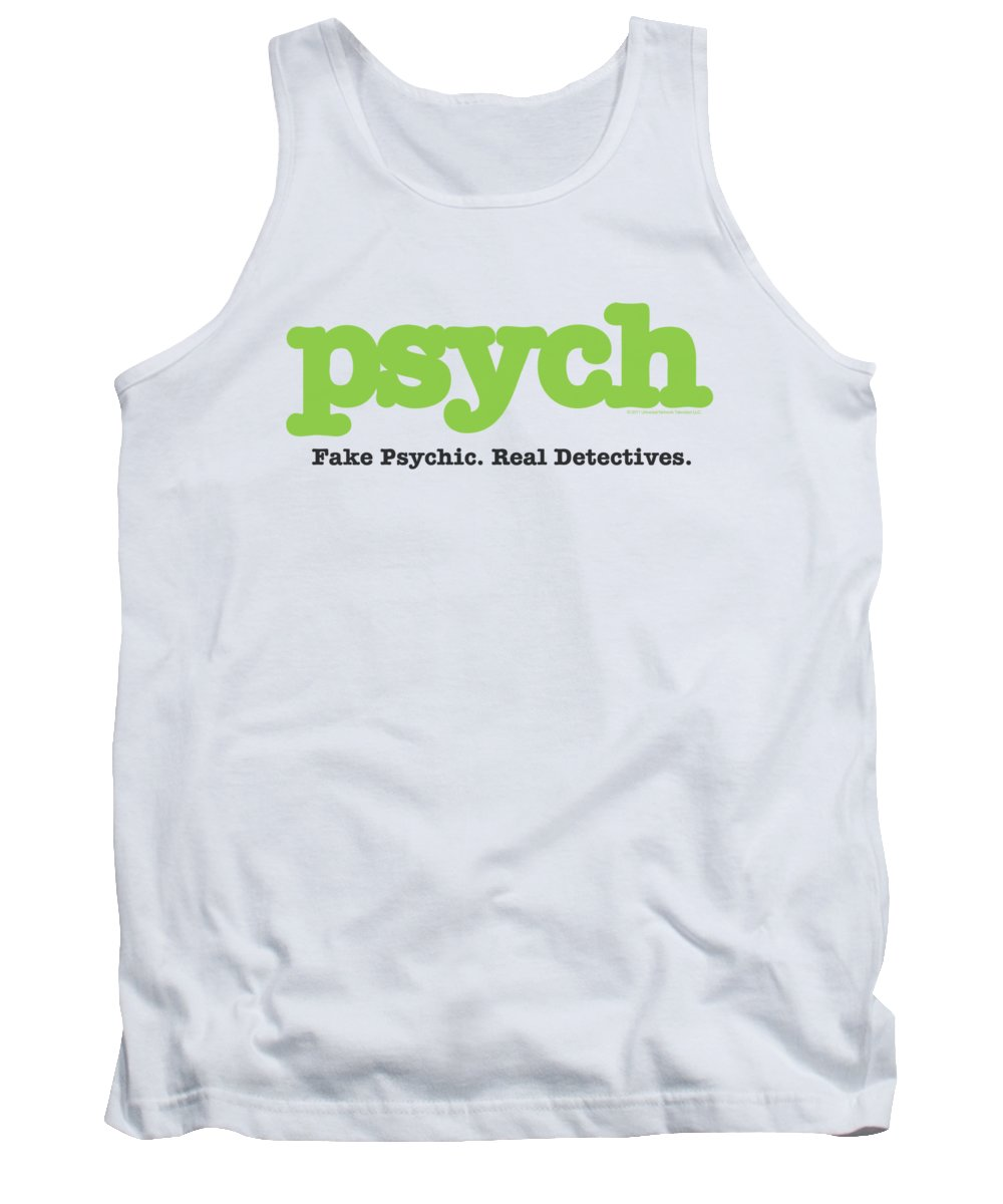 Psych Tank Top featuring the digital art Psych - Title by Brand A