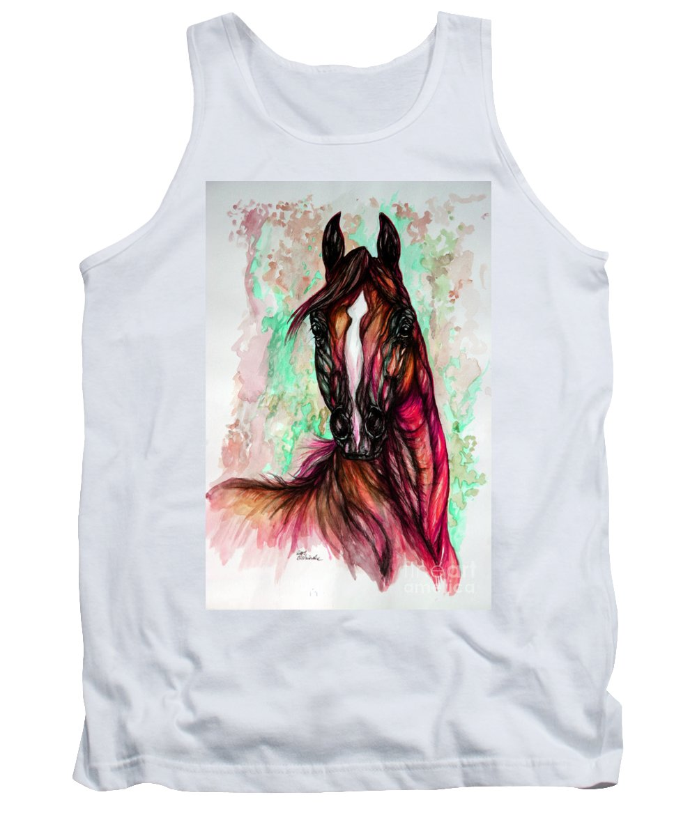 Horse Tank Top featuring the painting Psychedelic Pink And Green by Angel Ciesniarska