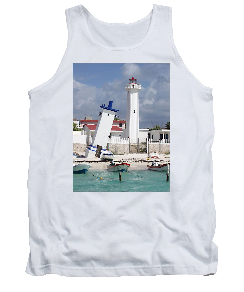 Puerto Morelos Lighthouse Tank Top featuring the photograph Puerto Morelos Lighthouse by Ellen Henneke