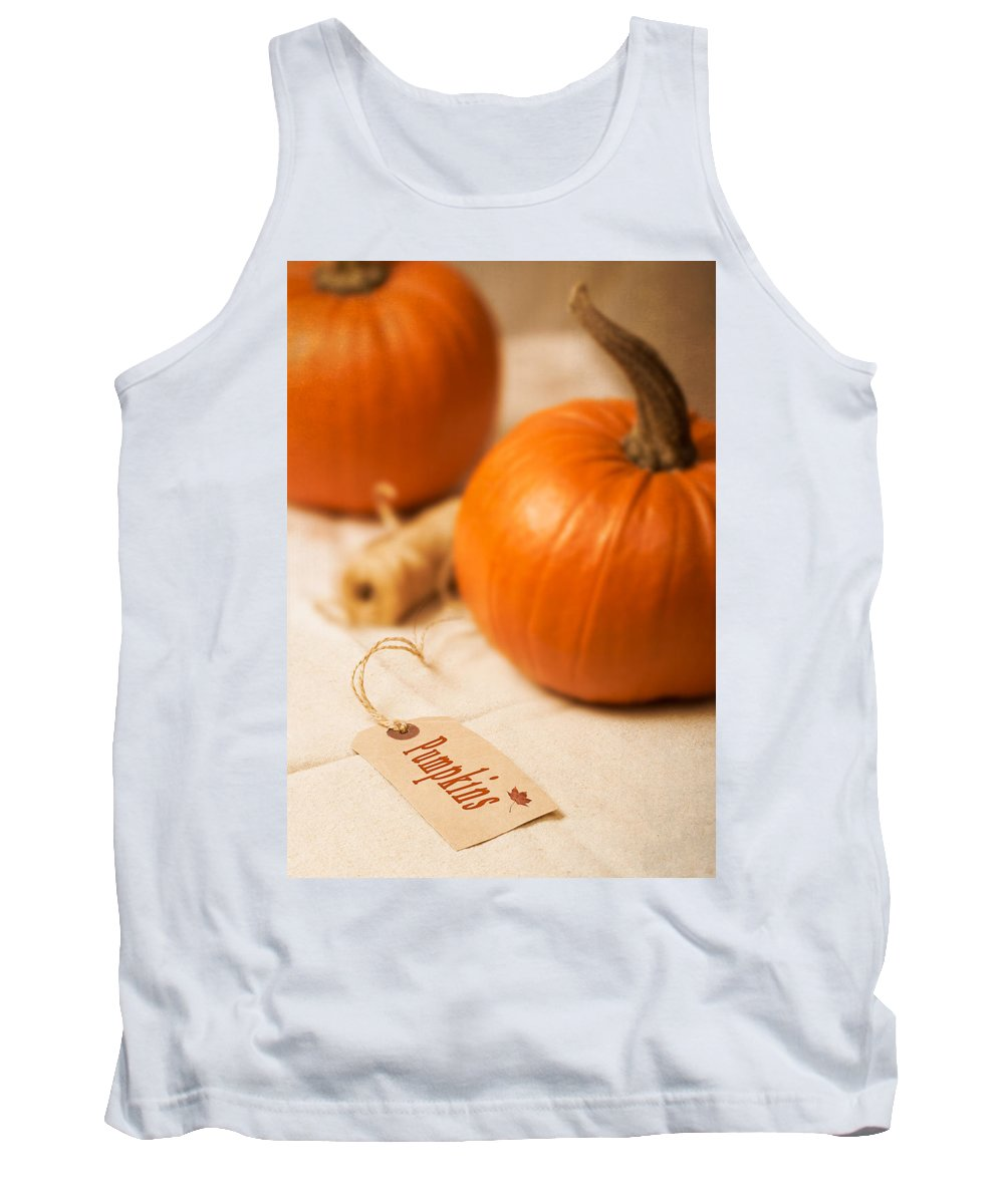 Pumpkin Tank Top featuring the photograph Pumpkin Label by Amanda Elwell