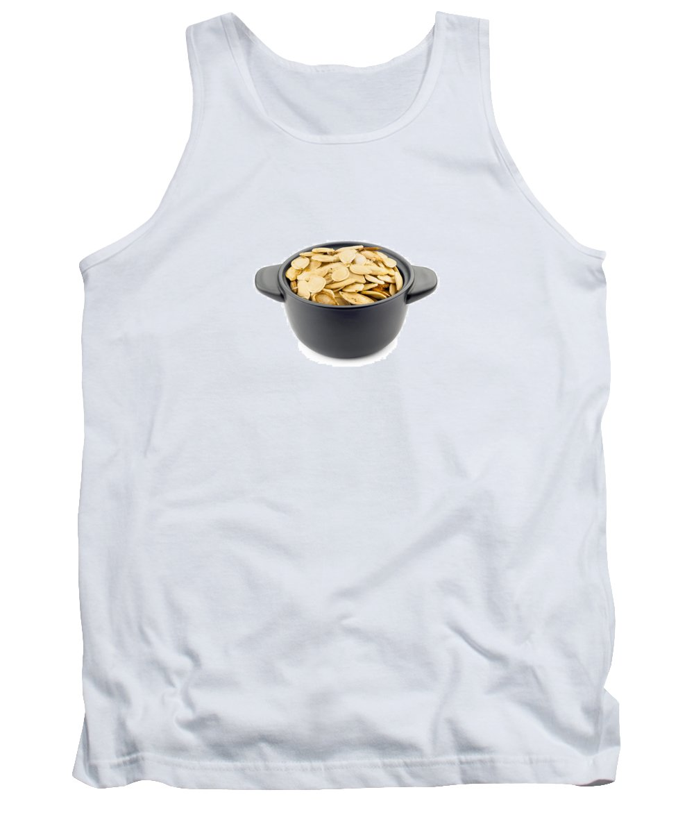 Shell Tank Top featuring the photograph Pumpkin Seeds In A Black Cup by Alain De Maximy