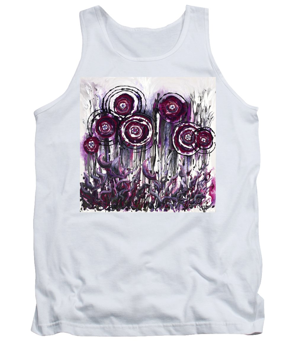 Poppies Tank Top featuring the painting Purple Poppies by Nadine Rippelmeyer