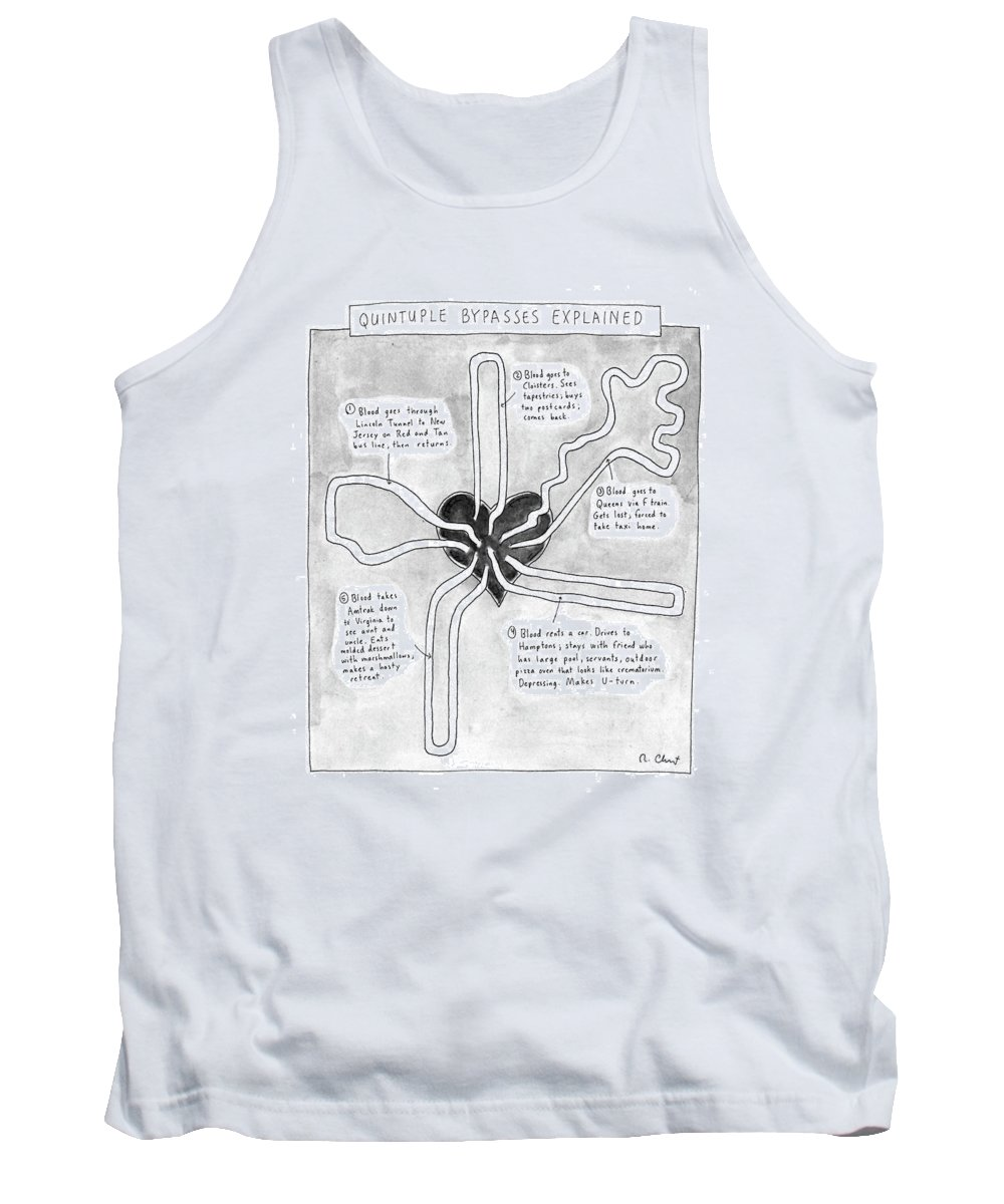 Quintuple Bypasses Explained No Caption Science Tank Top featuring the drawing Quintuple Bypasses Explained by Roz Chast