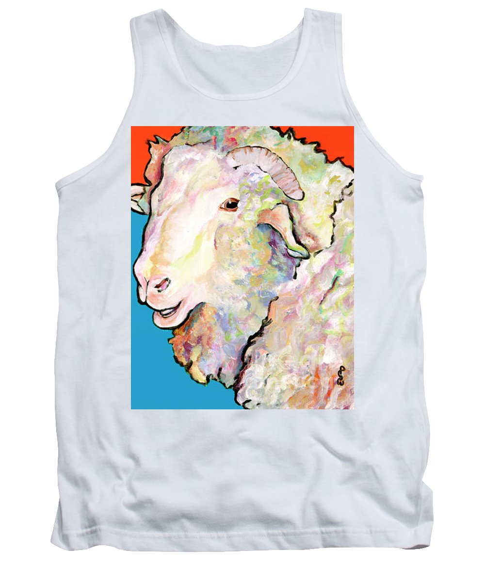 Pat Saunders-white Tank Top featuring the painting Rainbow Ram by Pat Saunders-White