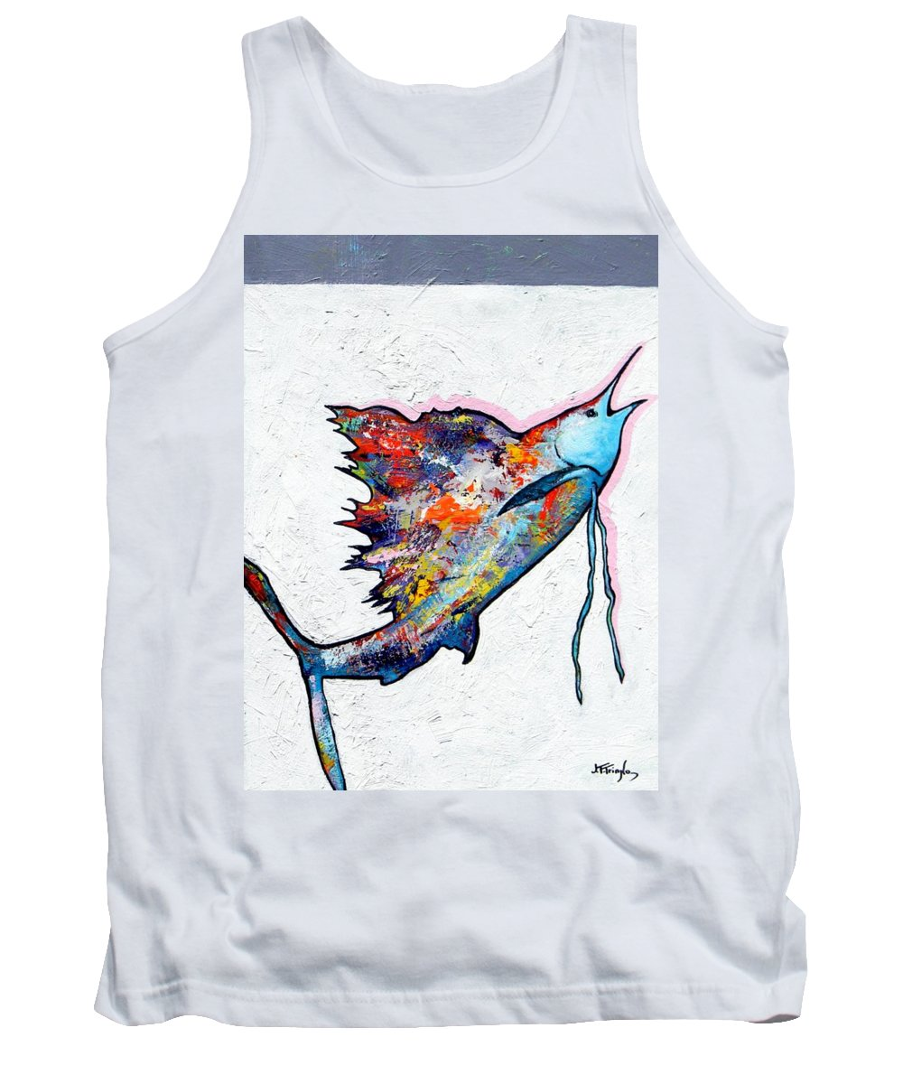 Wildlife Tank Top featuring the painting Rainbow Warrior - Sailfish by Joe Triano