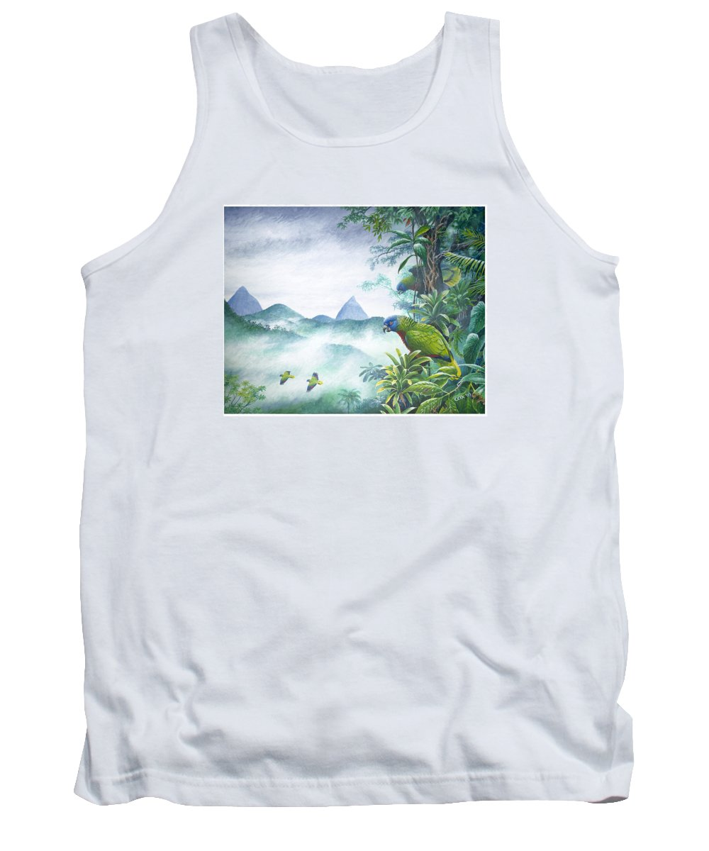 Chris Cox Tank Top featuring the painting Rainforest Realm - St. Lucia Parrots by Christopher Cox