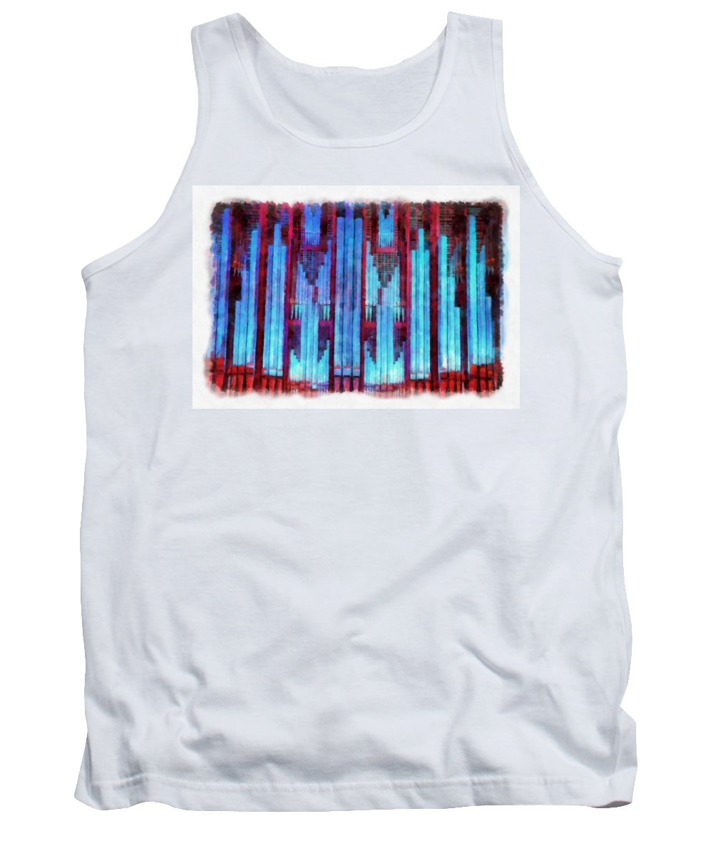 Pipes Tank Top featuring the mixed media Red And Blue by Jenny Setchell