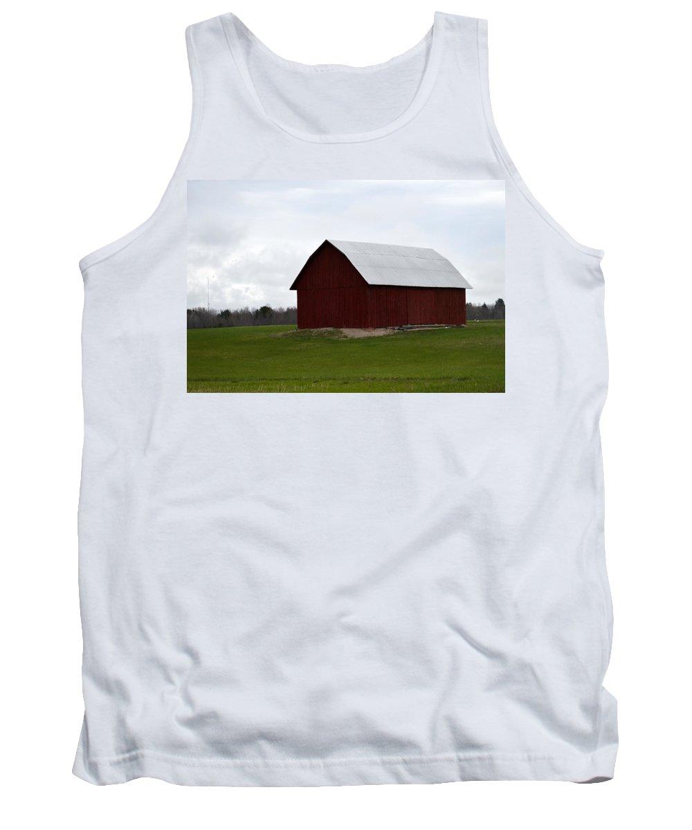 Farm Tank Top featuring the photograph Red Barn by Linda Kerkau