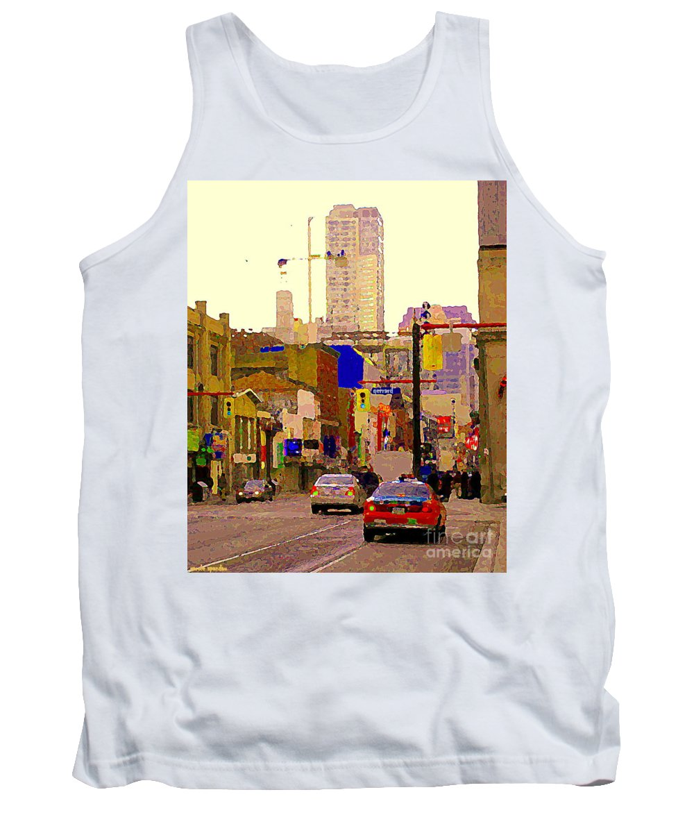 Toronto Tank Top featuring the painting Red Cab On Gerrard Chinatown Morning Toronto City Scape Paintings Canadian Urban Art Carole Spandau by Carole Spandau