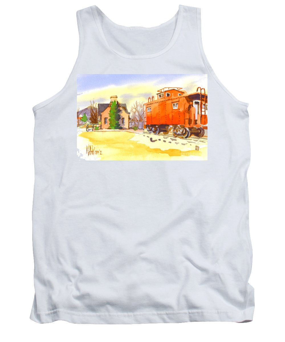 Red Caboose At Whistle Junction Ironton Missouri Tank Top featuring the painting Red Caboose At Whistle Junction Ironton Missouri by Kip DeVore