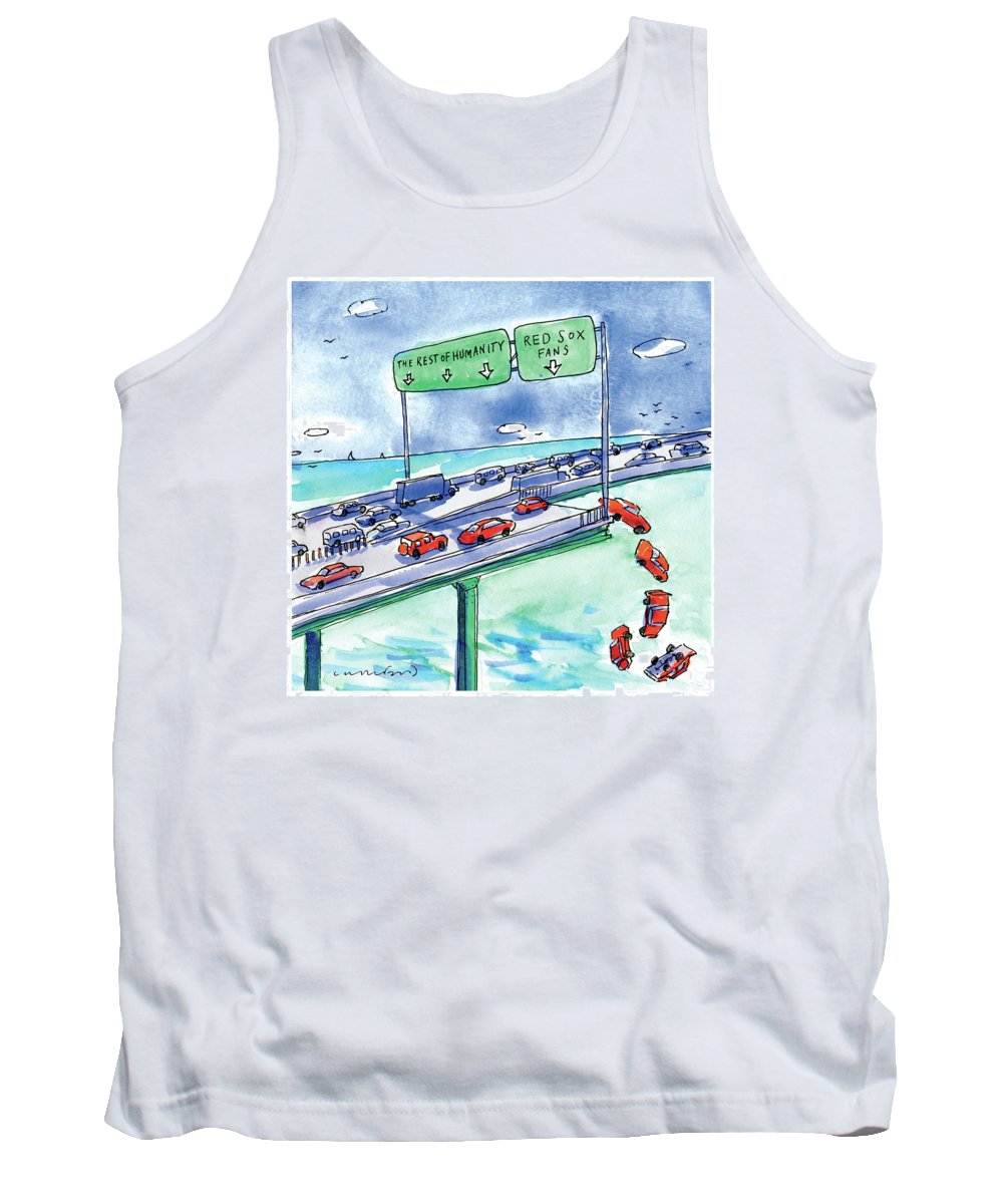 Red Sox Tank Top featuring the drawing Red Cars Drop Off A Bridge Under A Sign That Says by Michael Crawford