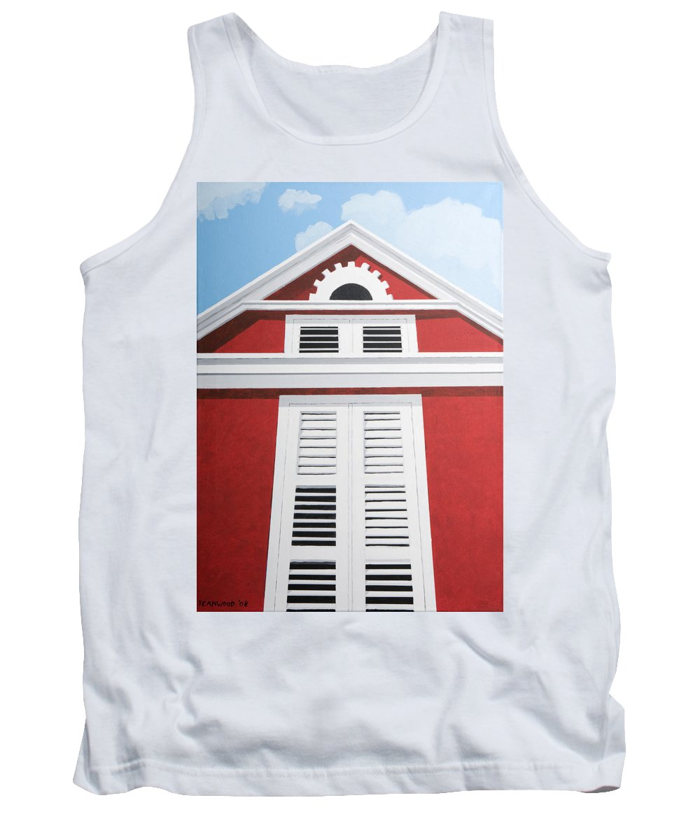 Red House Caribbean Curacao Aruba Antilles Architecture Sun Art Tank Top featuring the painting Red House by Trudie Canwood