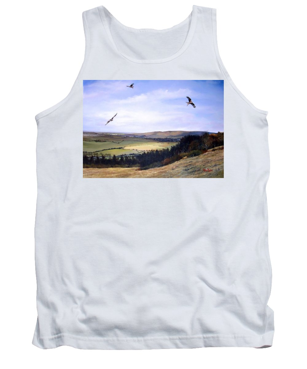 Red Kites Tank Top featuring the painting Red Kites At Coombe Hill by Barry BLAKE