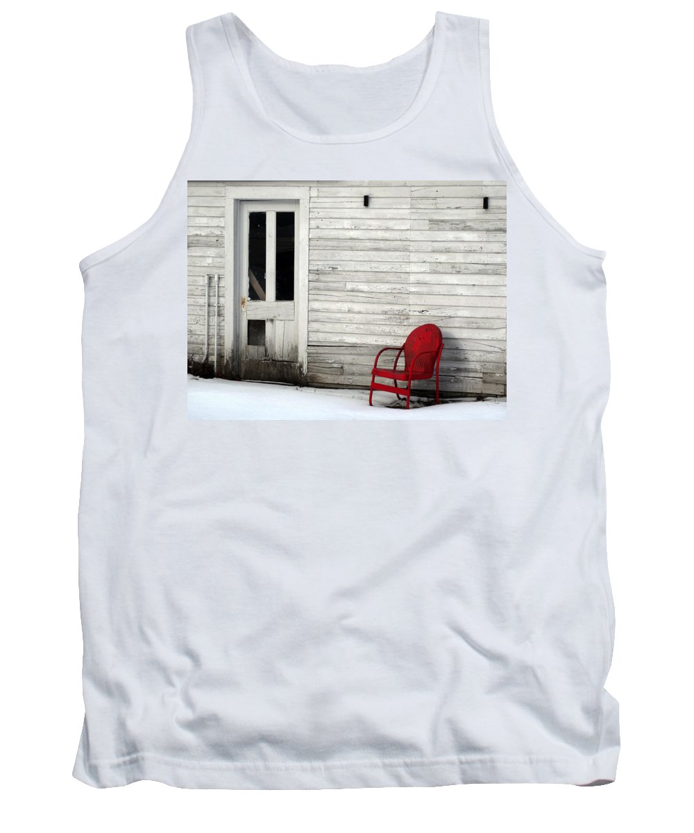 Gus Klenke Garage Tank Top featuring the photograph Red On White by David T Wilkinson