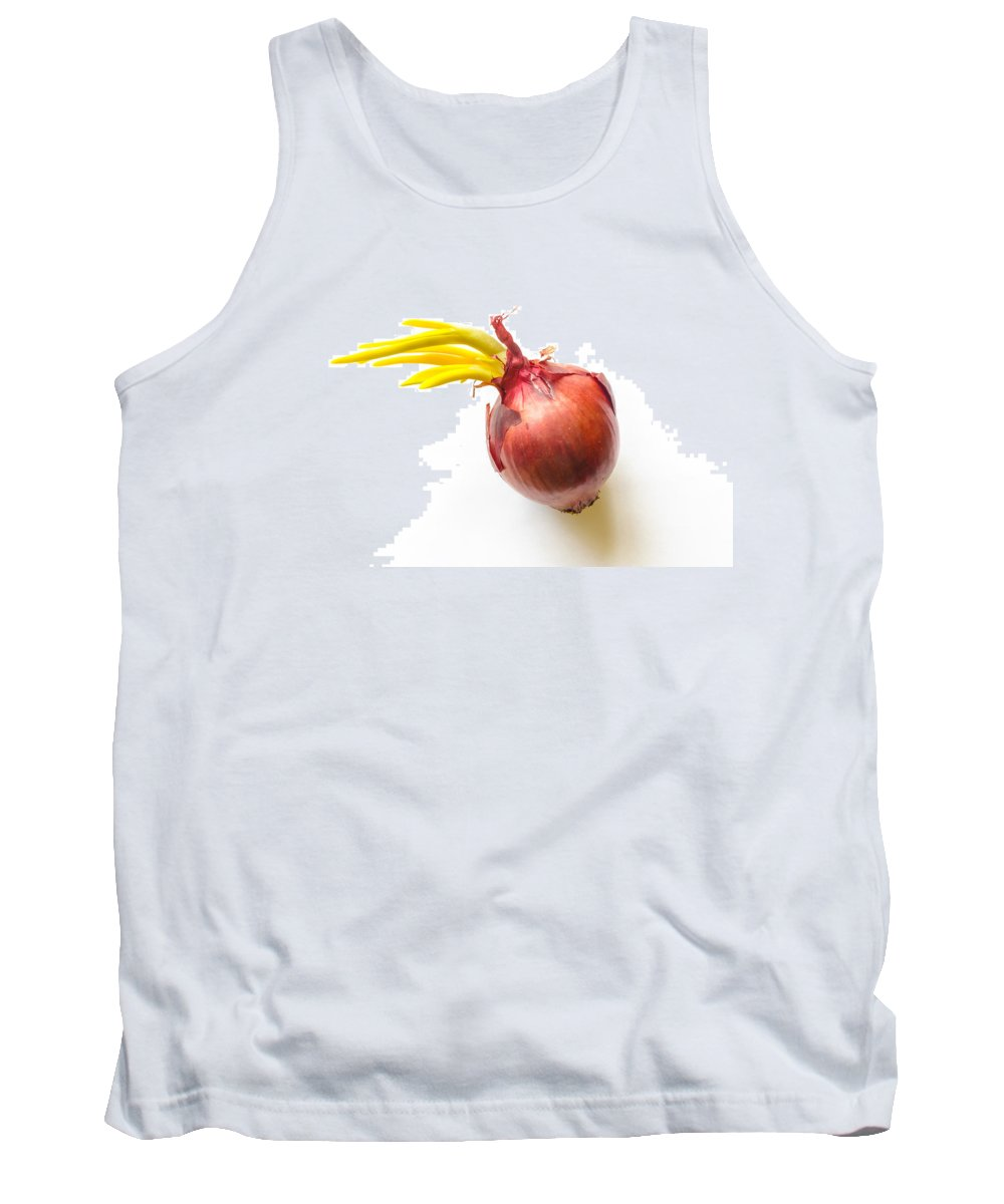 Cuisine Tank Top featuring the photograph Red Onion With Sprout by Alain De Maximy