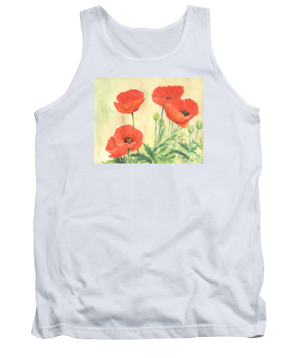 Red Poppies Tank Top featuring the painting Red Poppies 3 Colorful Watercolor Poppy Floral Original Art Flowers Garden Artist K. Joann Russell by K Joann Russell