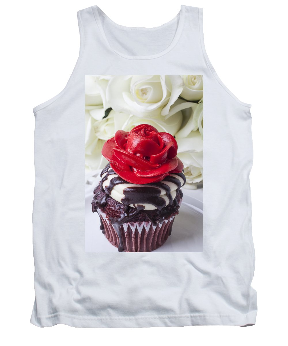 Red Rose Cupcake Tank Top featuring the photograph Red Rose Cupcake by Garry Gay