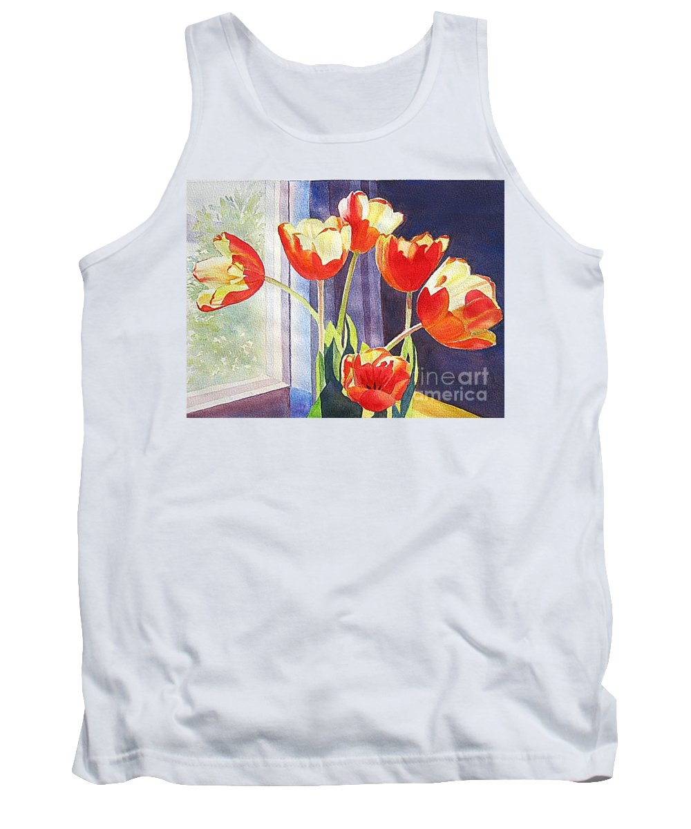 Tank Top featuring the painting Red Tulips by Linda Haile