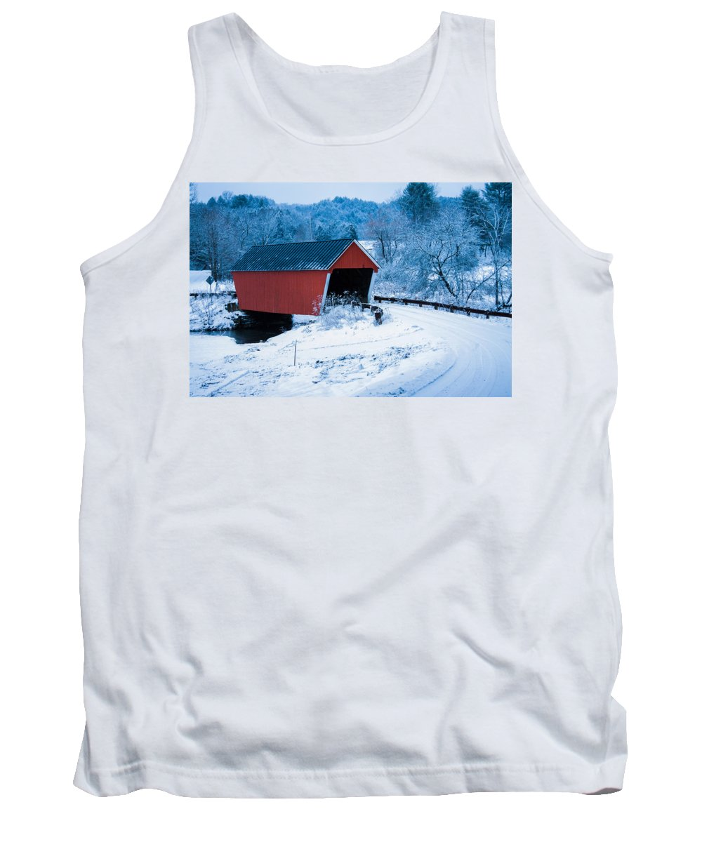 Vermont Covered Bridge Tank Top featuring the photograph Red Vermont Covered Bridge by Jeff Folger