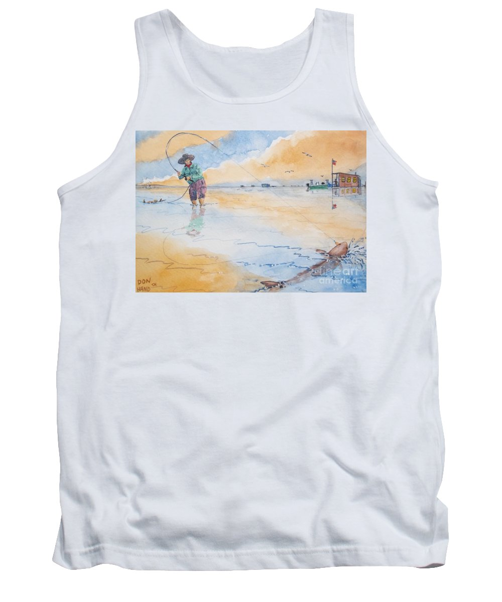 Scenic Landscape Tank Top featuring the painting Redfish Before Breakfast by Don Hand