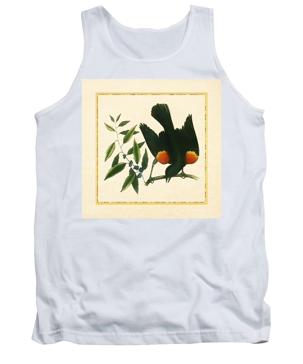 Antique Vintage Traditional Bird Birds Realistic Formal Animal Wild Flying Avian Feathers  Tank Top featuring the painting Redwing Blackbird Square by Elaine Plesser