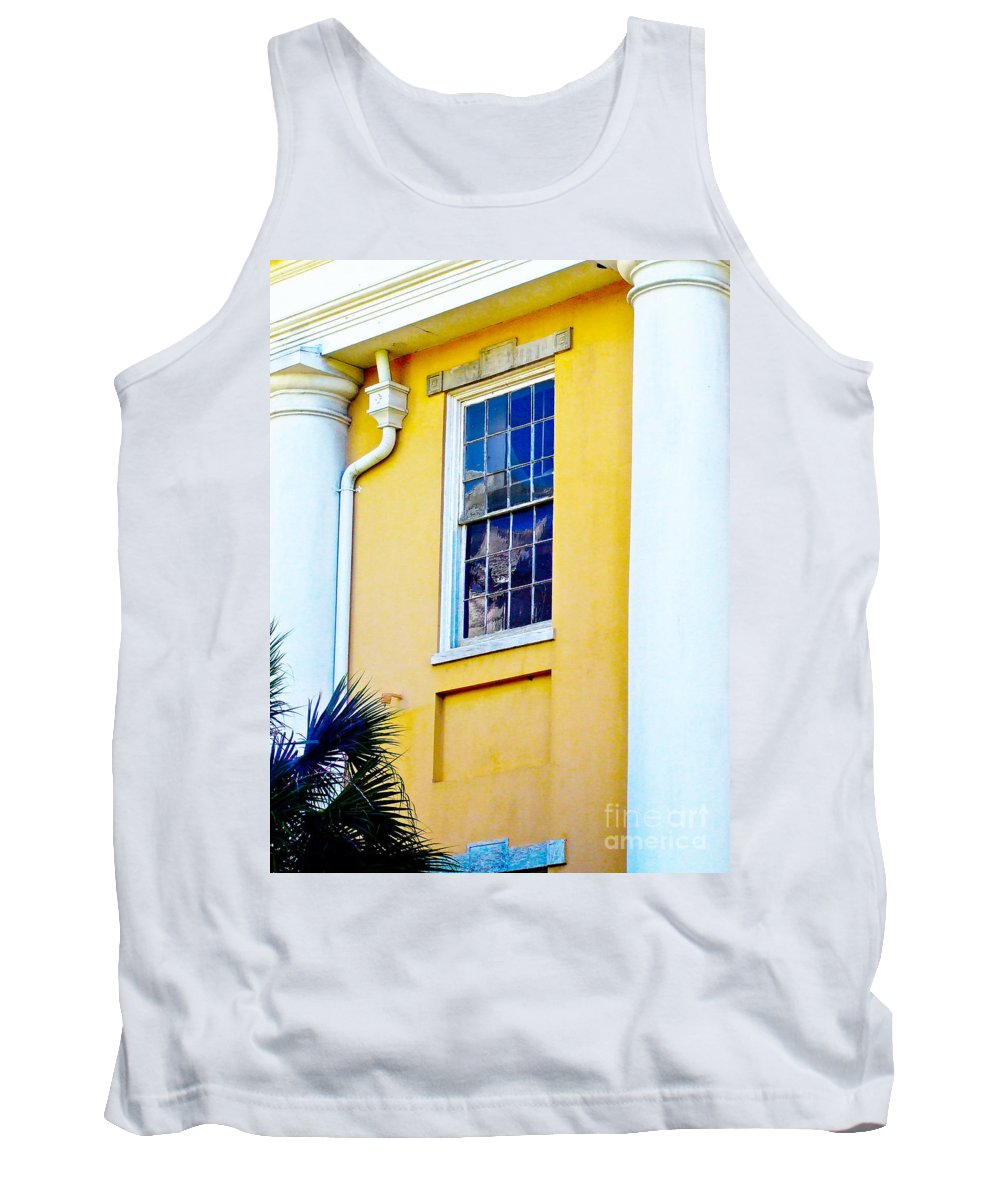 Architecture Tank Top featuring the photograph Reflection Between The Columns by Frances Hattier