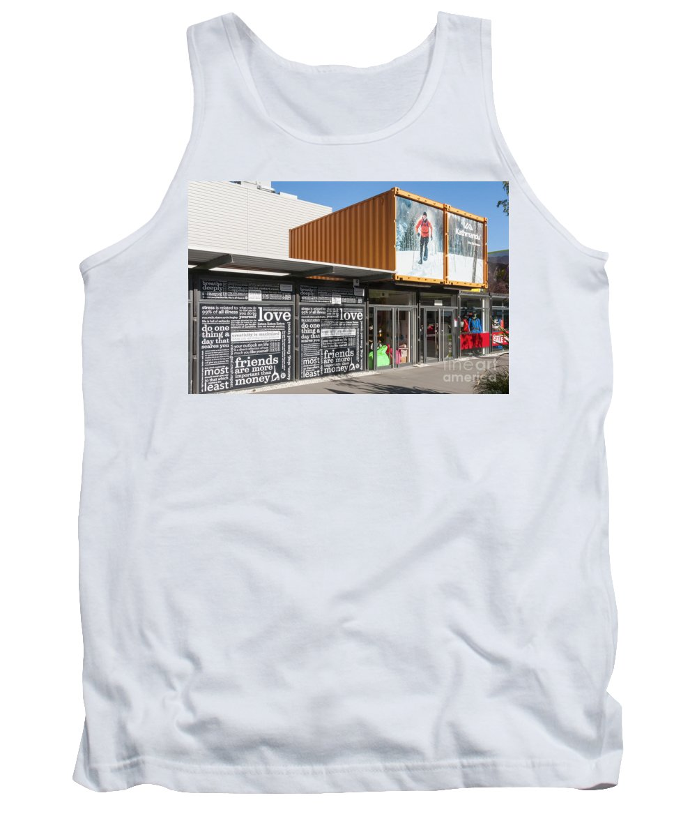 Christchurch New Zealand Earthquake Restart Container Store Stores Shop Shops Containers Structure Structures Architecture City Cities Cityscape Cityscapes Tank Top featuring the photograph Restart Container Stores by Bob Phillips